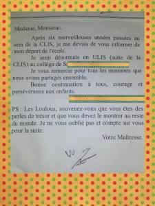 lettre enseignante