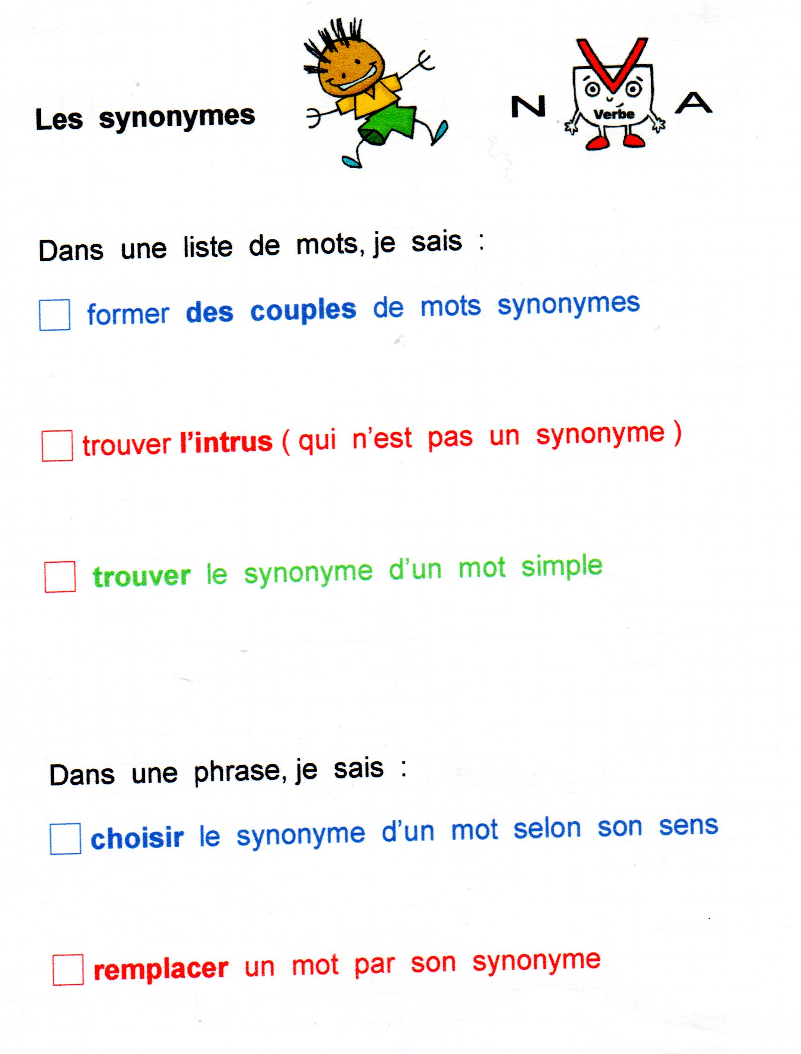 Vocabulaire fantadys page 3 - En matiere de synonyme ...