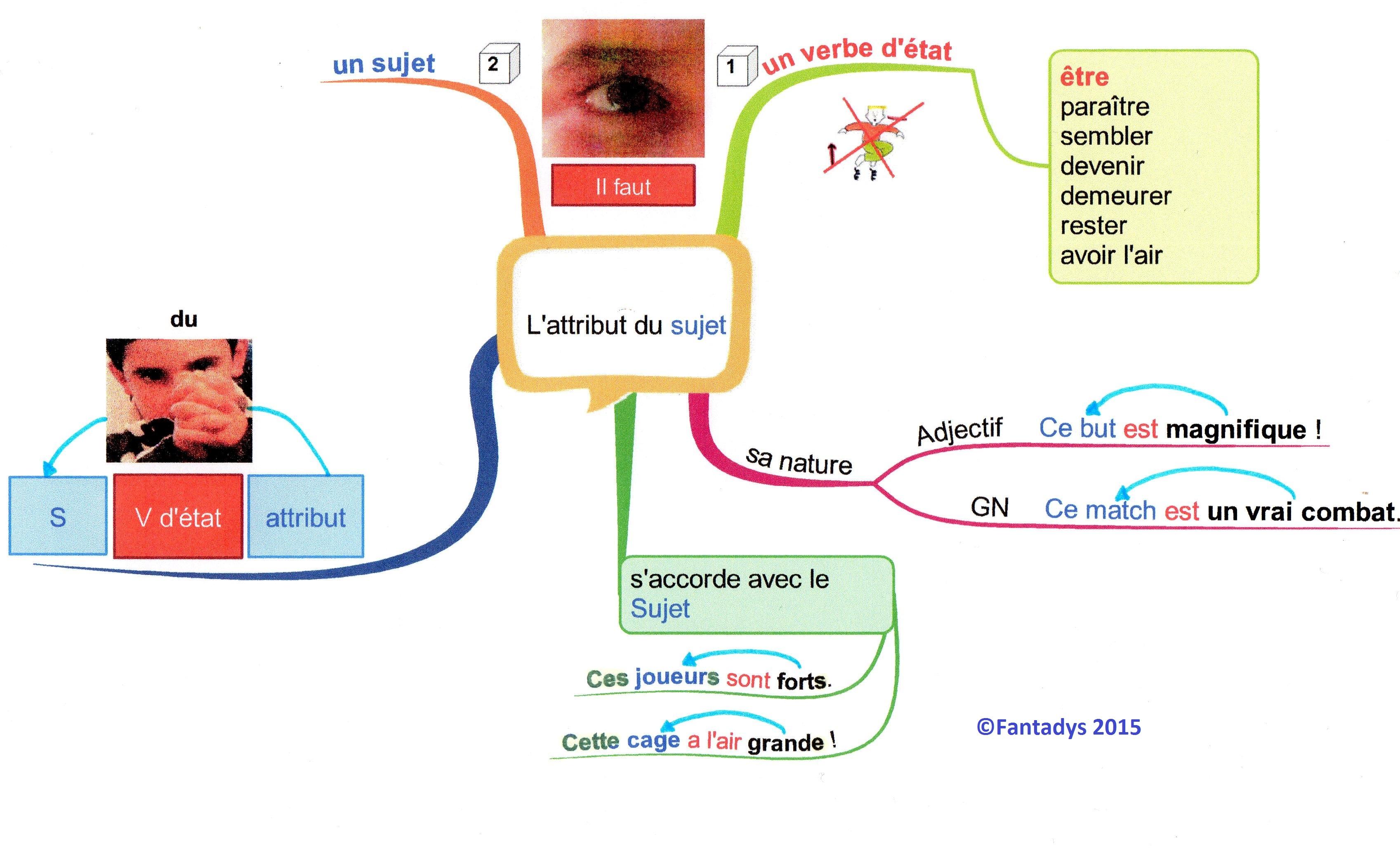 Carte Mentale Accord Sujet Verbe Cm2.Cartes Grammaire Fantadys