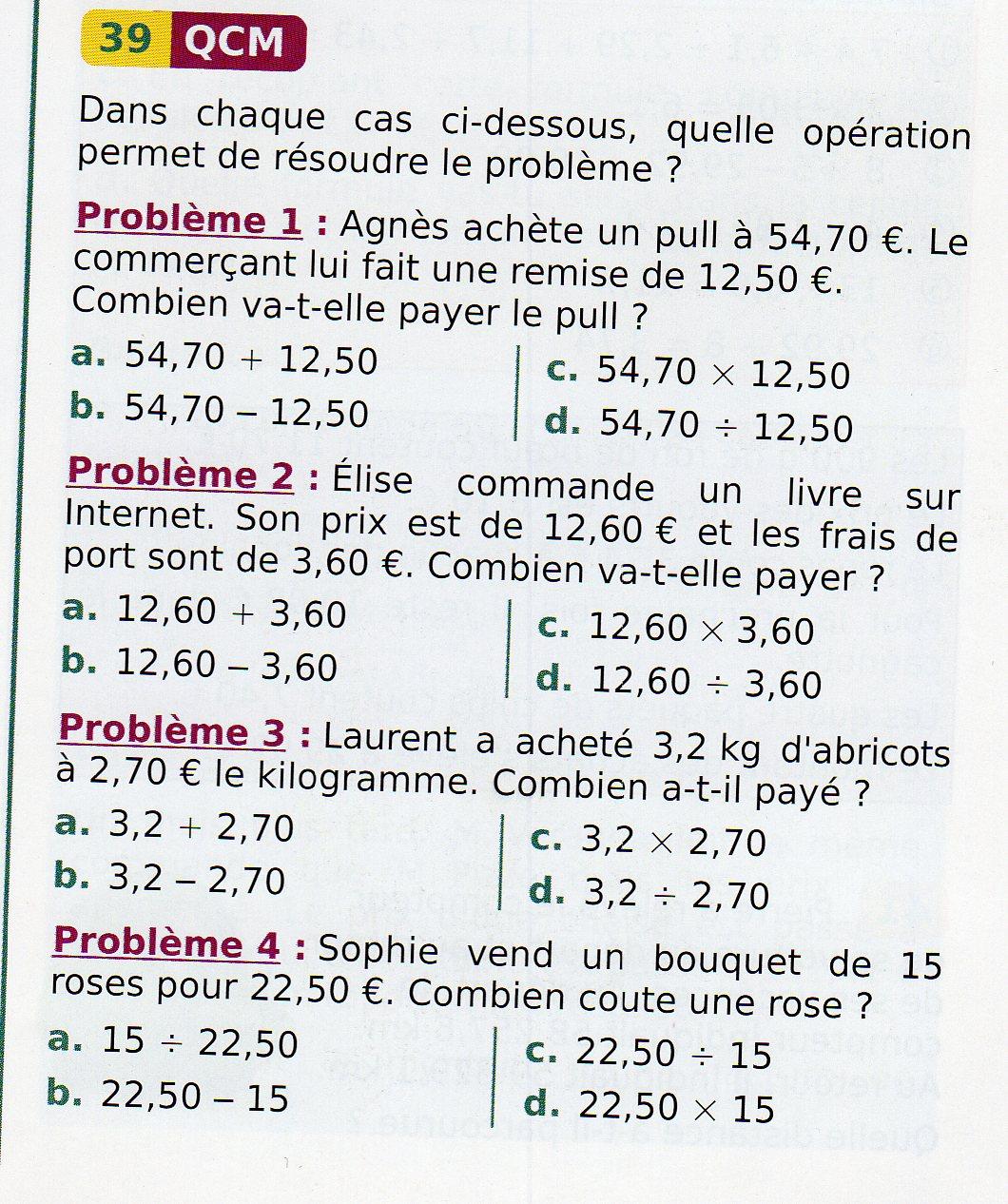 Programme de calcul mathématique 6ème Mathématiques