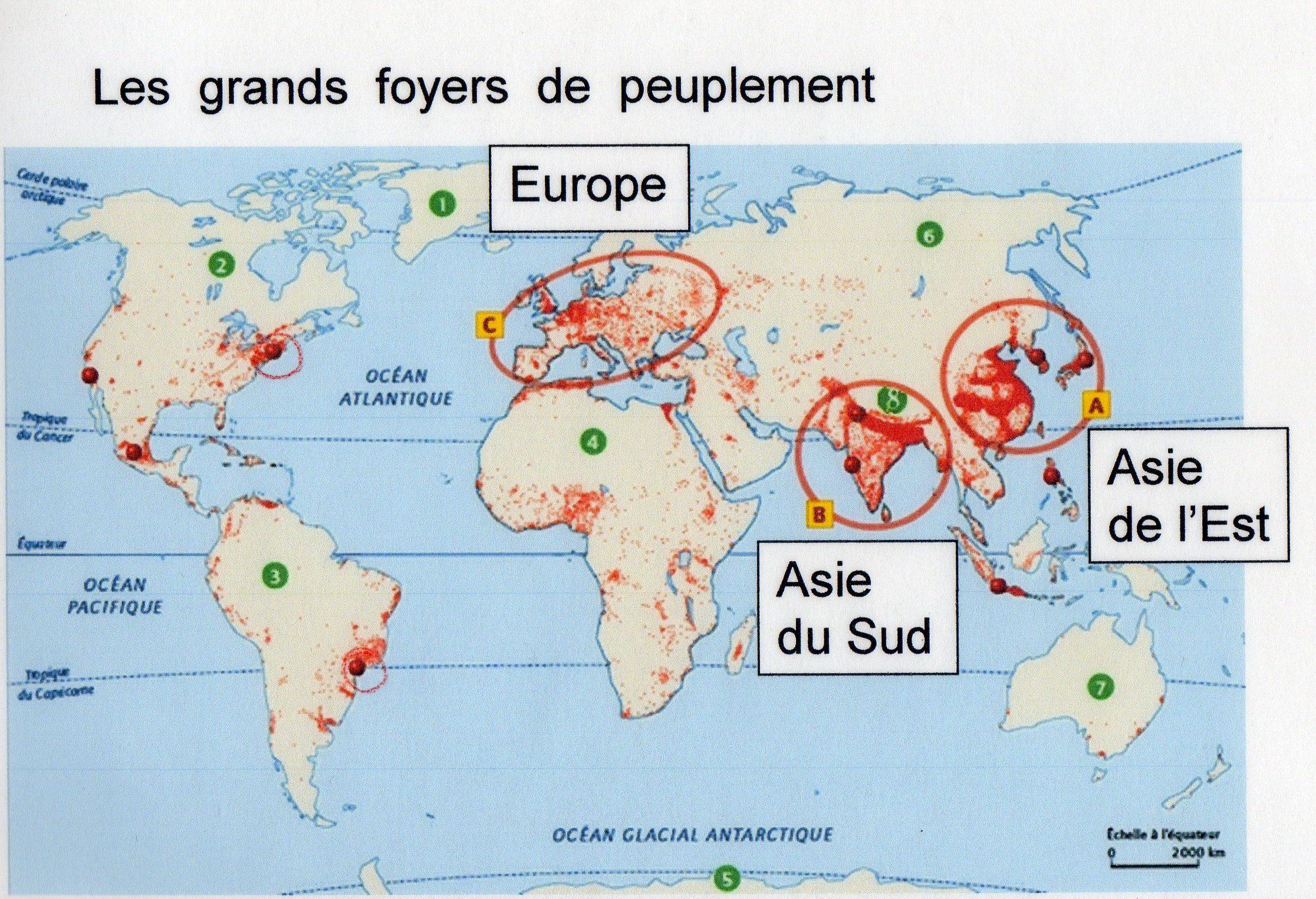 Le monde habité : densité de population, foyer de peuplement