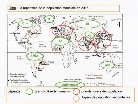 Grand Foyer De Population : Le monde habité densité de population foyer